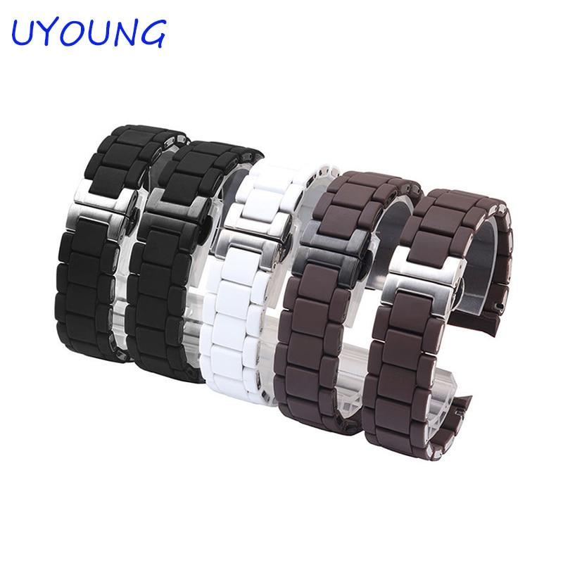 Kwaliteit siliconen + roestvrij stalen horlogeband 20mm23mm siliconen - Horloge accessoires