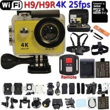 """การกระทำกล้องเดิมH9หรือH9Rอัลตร้าHD 4พัน25fps WiFi 2.0 """"170Dเลนส์หมวกกันน็อคผ่านกล้องp roใต้น้ำไปกันน้ำกล้องกีฬา"""