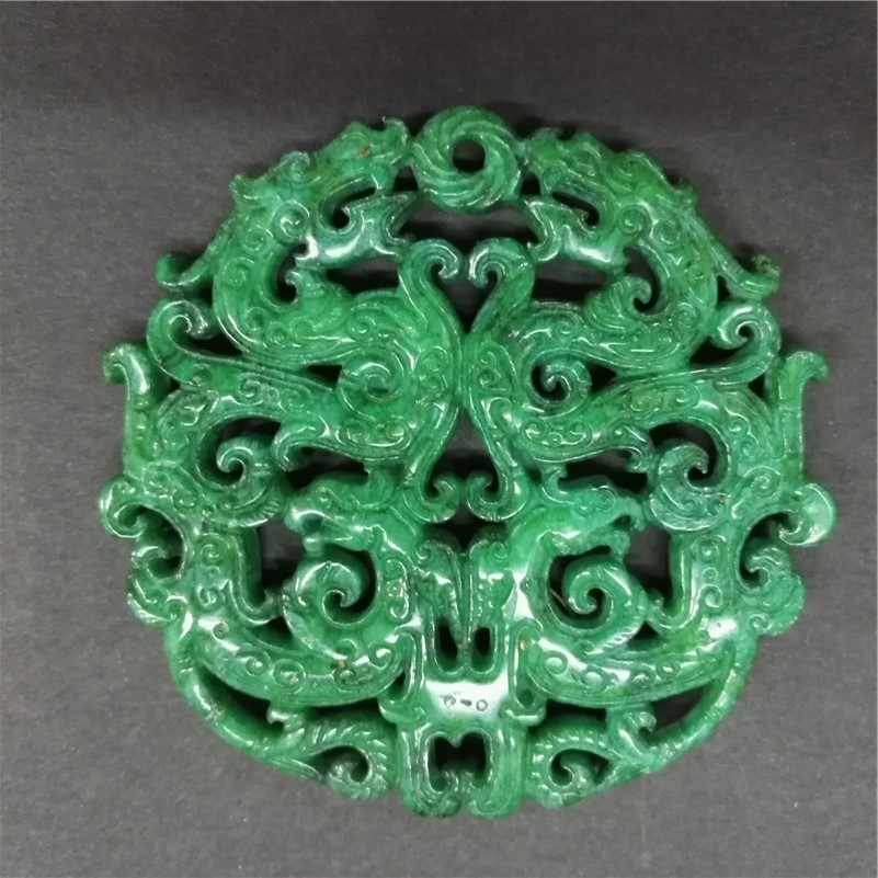 Charms Vintage Fashion Asia Ancient Sculpture Carving Art Pattern Green Semi Precious Stone Pendant For Necklace DIY Jewelry