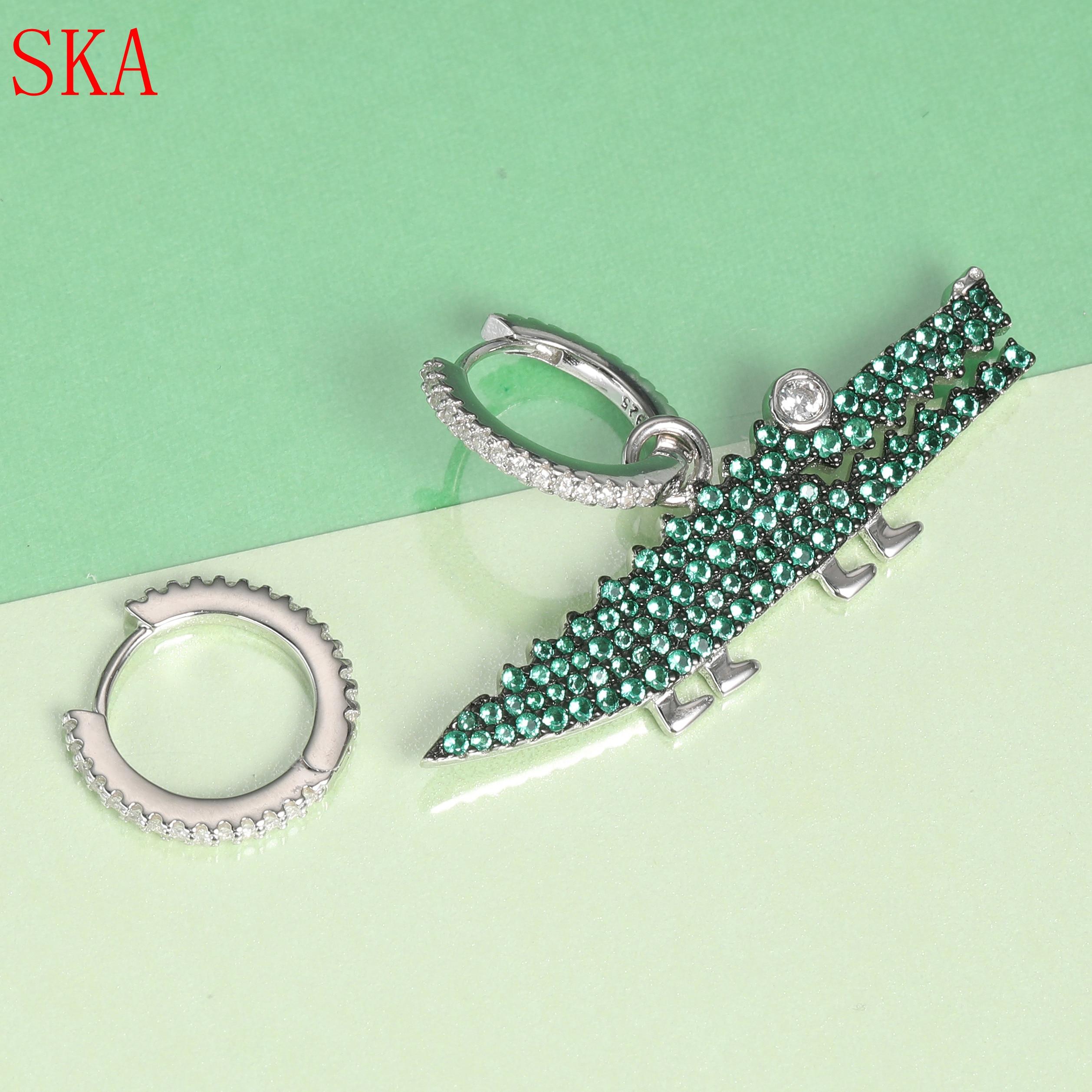 Mode asymétrique vert Crocodile boucle d'oreille pour les femmes coréenne mignon Animal 925 argent boucles d'oreilles cristal Zircon femmes accessoires