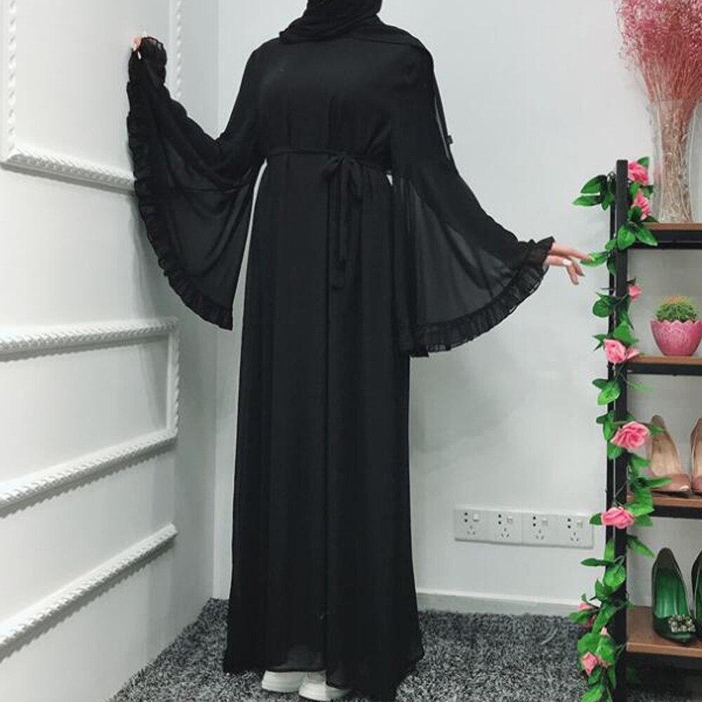 2019 musulman Abaya robe femmes mode col en V islamique arabe Long plissé caftan indien femmes soirée fête musulmane robe Abaya
