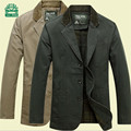 Nian AFS Jeep Autumn Men's 100% Cotton Single Breast Buttons Blazers,cotton solid Casual Man's Motorcycle Cardigan Outwear Solid