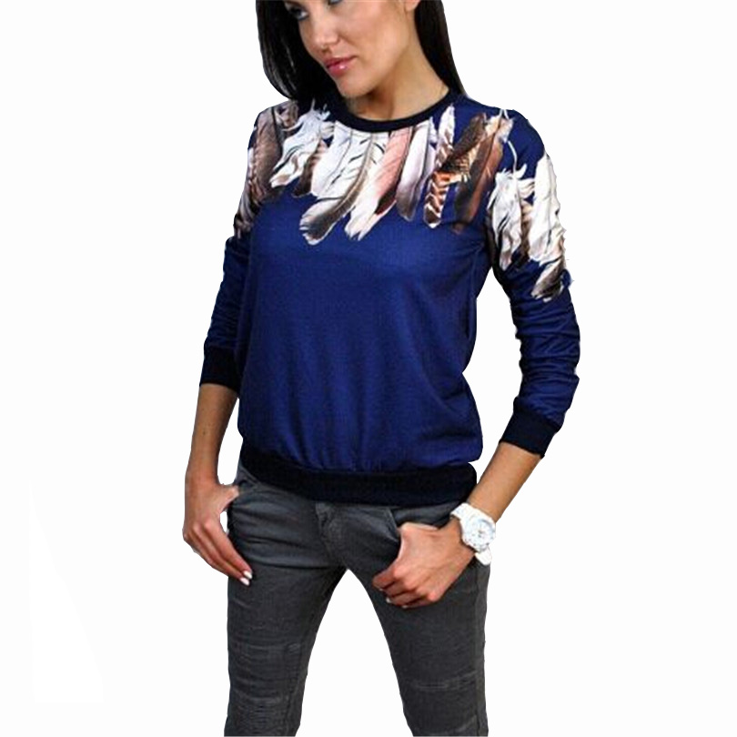 fd72844bc298 T Shirt Feather Printed Sweater camiseta feminina T Shirts poleras de mujer  Thread Cuff Women Coat Elastic Hem Sweatshirts S178-in T-Shirts from ...