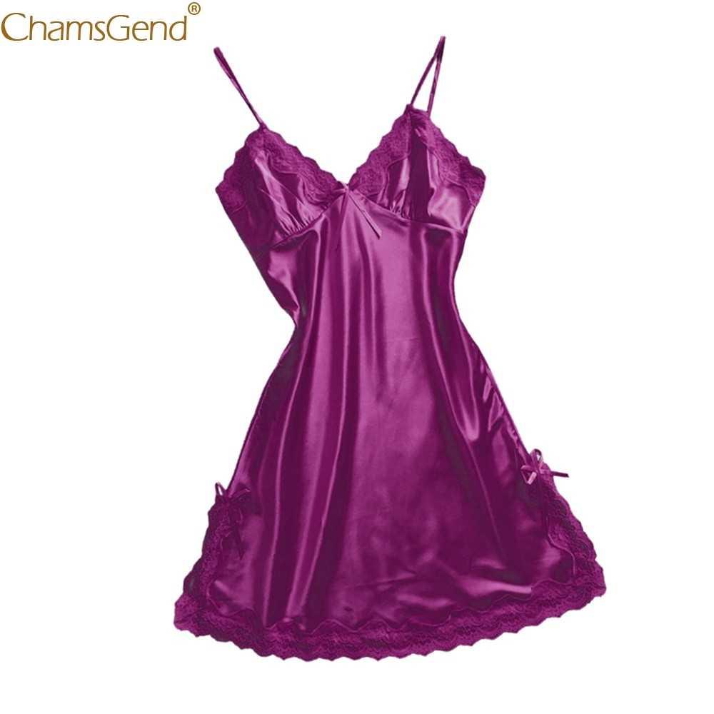 Chamsgend Sexy Lady V-ausschnitt Strappy Nachthemd Satin Nachtwäsche Frauen Sexy Linegrie Schlaf Kleid Comfy Frauen Kleidung 90103