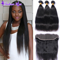 10A Fashion Plus Hair Malaysian Virgin Hair with Lace Frontal Closure with Bundles Straight 3 PCS with Lace Frontal Human Hair