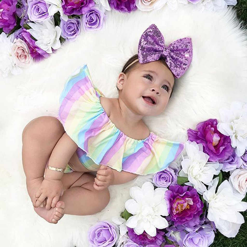 Newborn babygirl clothes Ruffles Iridescence Off Shoulder Striped Romper Bodysuit one year birthday girl baby girl 2 piece sets