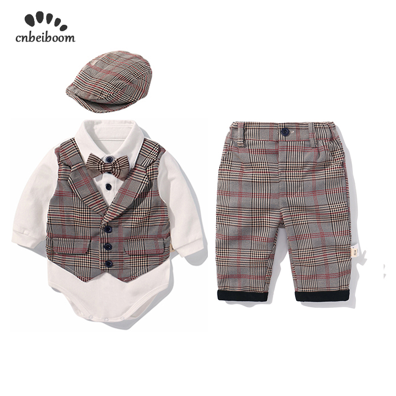Image 2 - 2019 New baby boy rompers clothes sets children's baby clothing plaid vest pant hat boy's set gentleman suit long sleeve dress-in Rompers from Mother & Kids