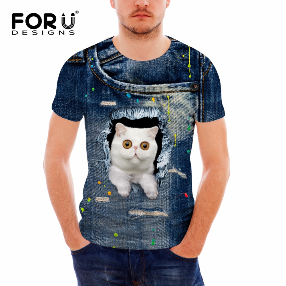 FORUDESIGNS Brand-clothing Mens Casual T Shirt Fashion 3D Jeans Cat Printed Slim Fitness Short Sleeved Breathable Mens T-shirts ...