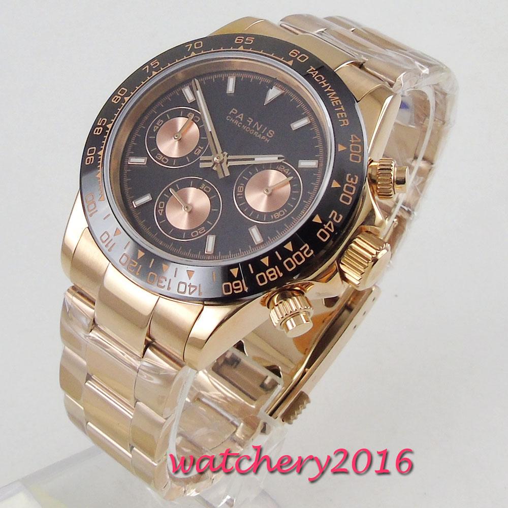 лучшая цена 39mm parnis black Dial Rose Golden stainless steel Sapphire Glass Chronograph relogio masculino Quartz Movement mens Watch