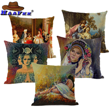 Mexican Painter Cushion Cover Self-portrait Pillowcover Decorate Funda Cojin Cotton Linen Pillowcase Home Couch