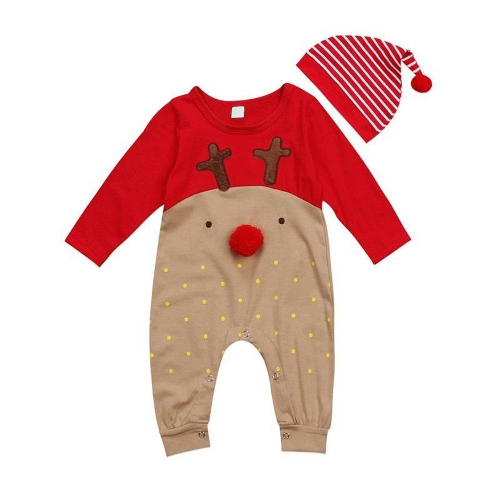 Fashion Cute Christmas Deer Print Striped Baby Boy Girl Romper + Hat Newborn Outfit Set