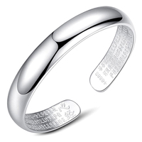 100% 999 Sterling Silver Simple and stylish Bangle&Blacelets ,Fine Jewelry Smooth Tibet Heart Sutra Bangle Free shipping