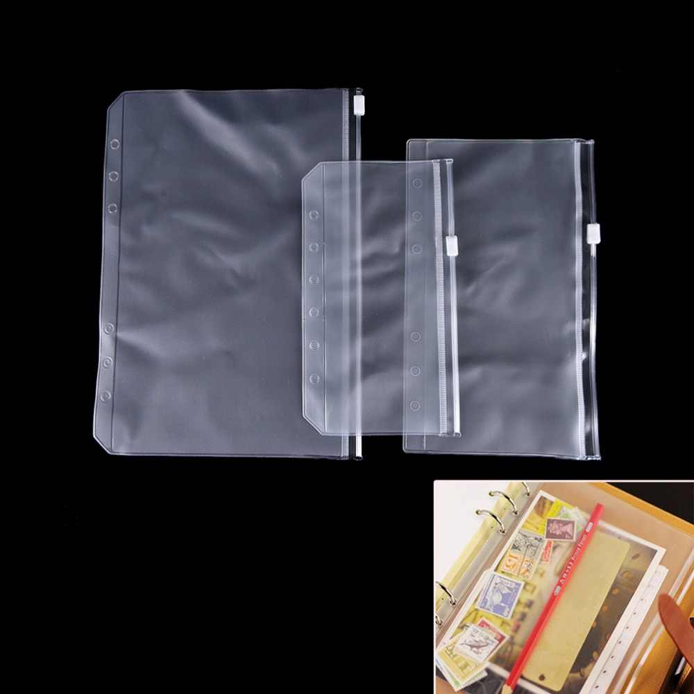 1 個透明 PVC 収納カードバッグ traveler のノートブック日記プランナージッパー袋ファイリング製品
