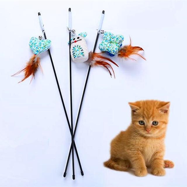 1 pz Cat Teaser Bacchetta Con Piuma Catnip Plush Mouse Gattino Giocattolo Intera