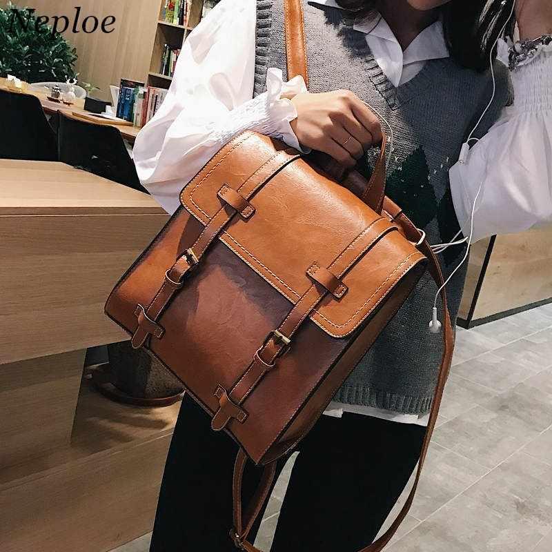 a7d053057b aotomo PU Leather Backpack Bags Vintage Matte Backpacks Women Korean School  Bag Travel Backpacks Mochilas Mujer