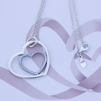 Compatible With Pandora Jewelry Hearts Silver Pendant With Cz And Necklace 100 925 Sterling Silver Fashion