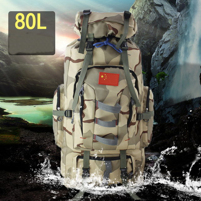 80L Large Capacity Tactical Military Lightweight Waterproof 600D Camouflage Backpack Outdoor Hiking Backpack Mountain Army Bag
