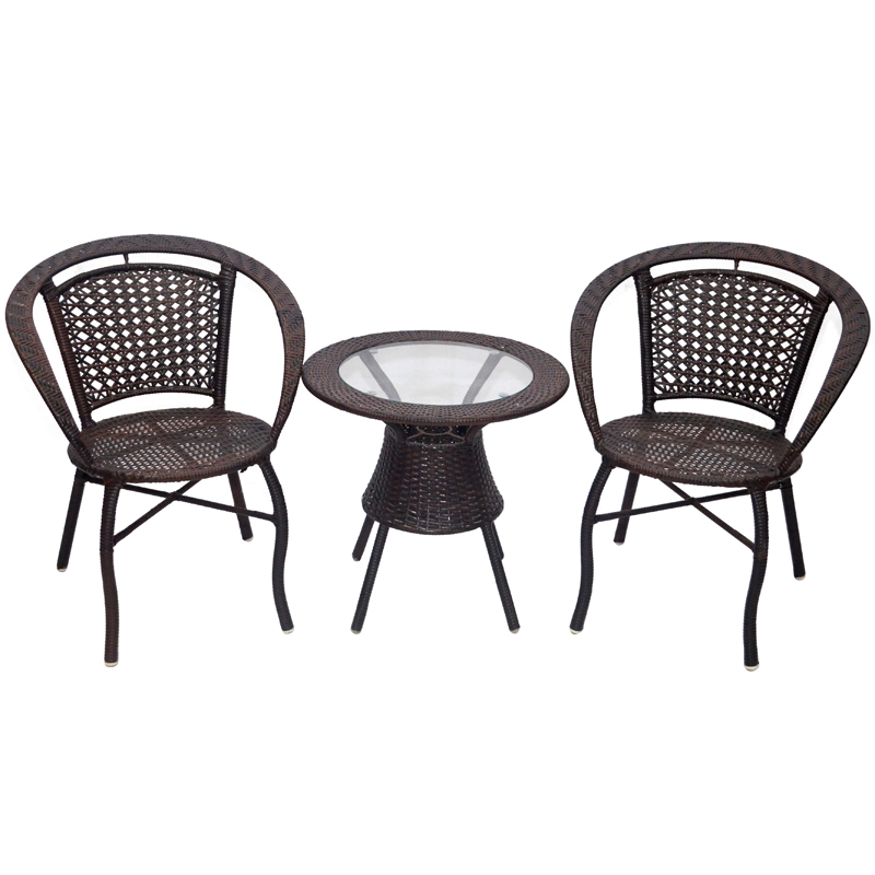 Garden outdoor furniture rattan chairs coffee table three for Small apartment table and chairs
