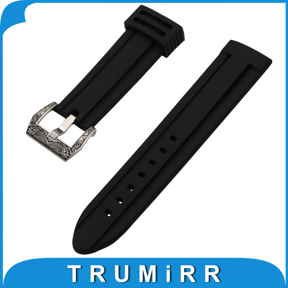 21mm 22mm 23mm 24mm Silicone Rubber Watch Band Universal Watchband Stainless Steel Carved Pre-v Buckle Strap Wrist Belt Bracelet silicone rubber watch band 17mm 18mm 19mm 20mm 21mm 22mm 23mm 24mm universal watchband strap wrist belt bracelet