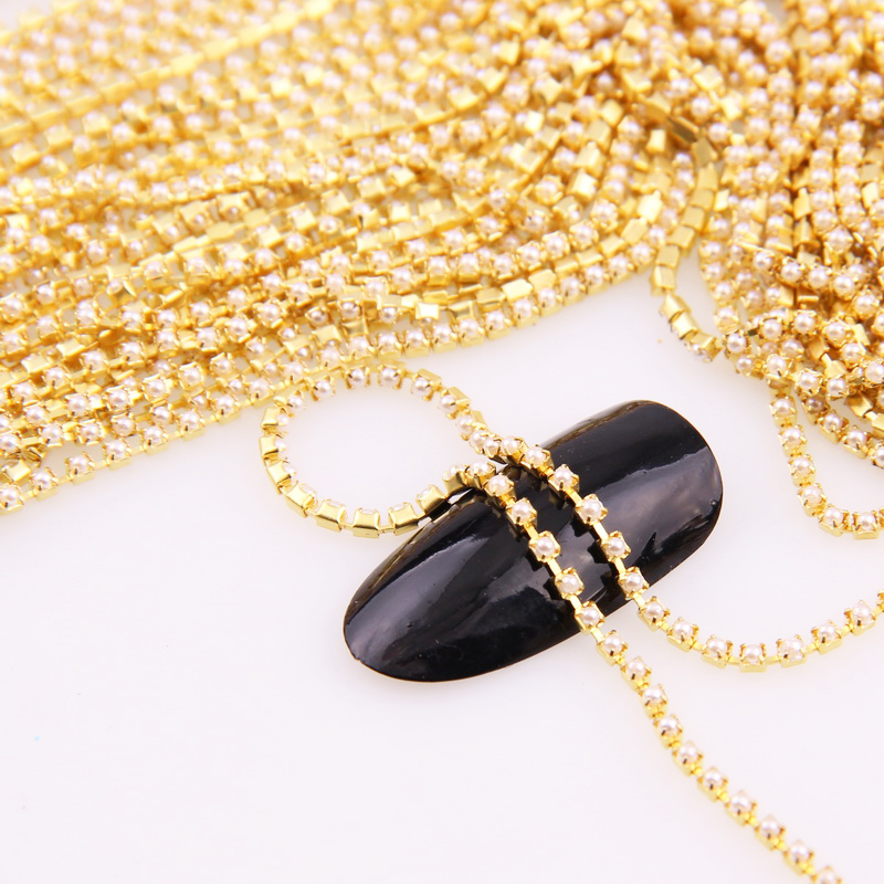 1 Yard/roll Gold Base Pearl Cup Chian SS12 .SS6 Intensive Gold Base New Style DIY Beauty Accessories Pearl Chain