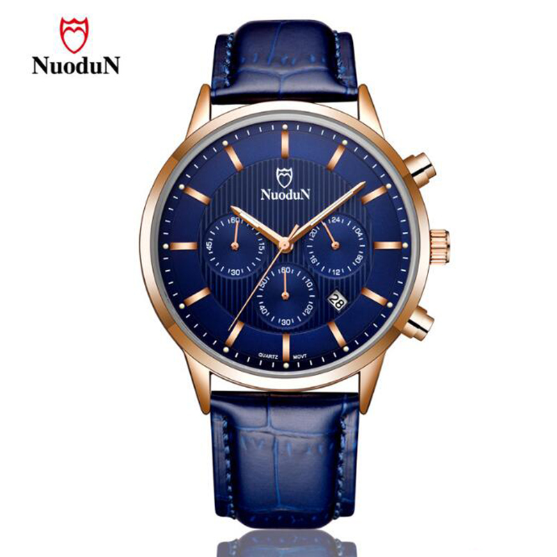 NUODUN Relogio Masculino Top Brand Mens Watches Luxury Quartz Watch Men Leather Fashion Sport Casual Clock Male Wristwatches hongc watch men quartz mens watches top brand luxury casual sports wristwatch leather strap male clock men relogio masculino