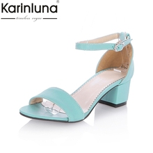 Fashion Women Sandals Chunky Med Heels Gladiator Ankle Straps Summer Shoes Sweet Open Toe Less Platform Sandals