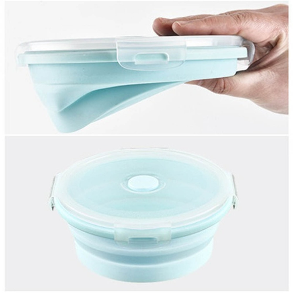 Seal Round Silicone Folding Portable Bento Box Collapsible Lunch Box For Kid Food Dinnerware Microwave Food Storage Container