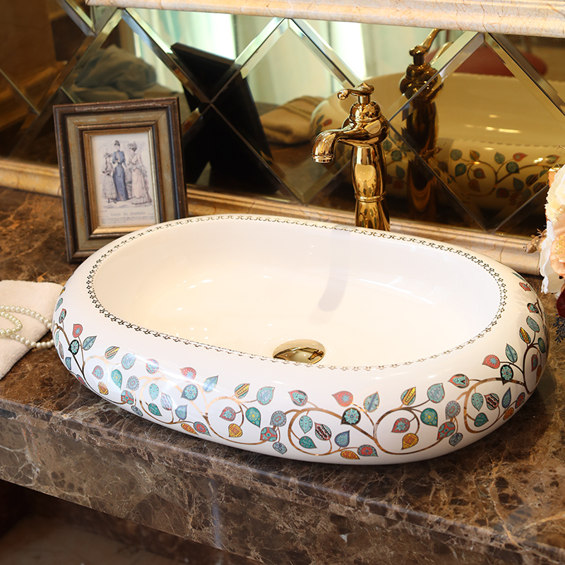 Imitation stones lotus pattern porcelain bathroom vanity bathroom sink bowl countertop Oval Ceramic wash basin bathroom sink