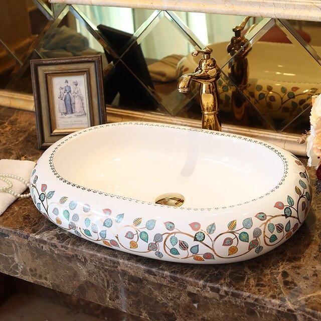 Oval Blatt Muster Porzellan Bad Eitelkeit Waschbecken Schussel