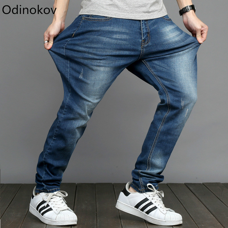 Odinokov brand Mens Big and Tall High Stretch Plus Size 28-48 Jeans Denim Business Loose Fit Boot Cut Trousers Pants Blue sulee brand 2017 mens plus size jeans stretch dark blue denim slim long trouser jean pants big and tall trendy mens clothing