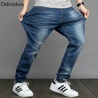 Odinokov Brand Mens Big And Tall High Stretch Plus Size 28 48 Jeans Denim Business Loose