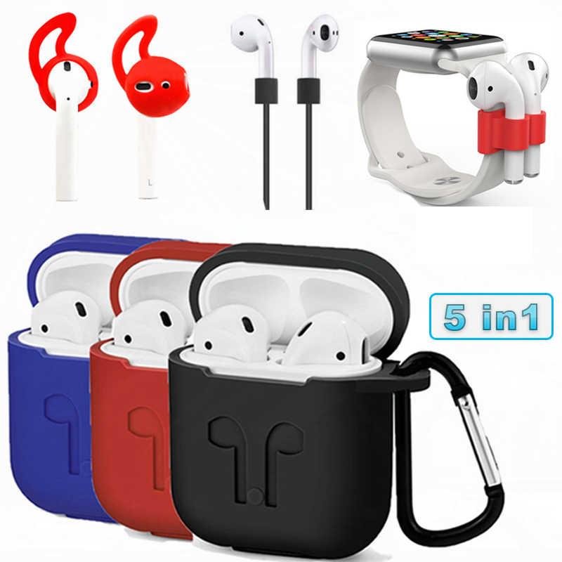 Słuchawki Bluetooth pokrywa dla Airpods 2 Case słuchawki akcesoria silikonowe miękki futerał dla przypadku Airpods śliczne z douszne porady