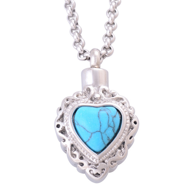Memorial Pendant With Turquoise Heart