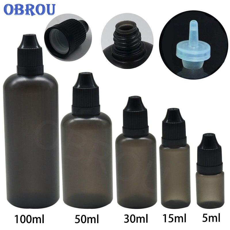 5PCS  Black Plastic PE Black Dropper Bottle 3ml 5ml 10ml 15ml 30ml 50ml 100ml Essential Oils Sample BotlleWith Childproof Cap
