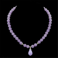 Vintage Classic Natural Stone Jewelry Elegant Noble Gorgeous Amethyst Beaded Chain Choker Necklace With Pendant 45