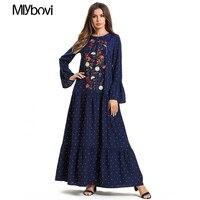 Polka Dot Embroidery Navy Blue Muslim Dress kaftan Moroccan Arab Dubai Islamic Floral Plus Size Clothing Long RIslamic Clothing