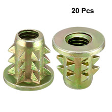 Uxcell High Quality 20pcs/lot M4 M5 M6 M8 Furniture Fittings Wood Insert E-Nut Screws Zinc Alloy Bronze Tone Length 11-15mm