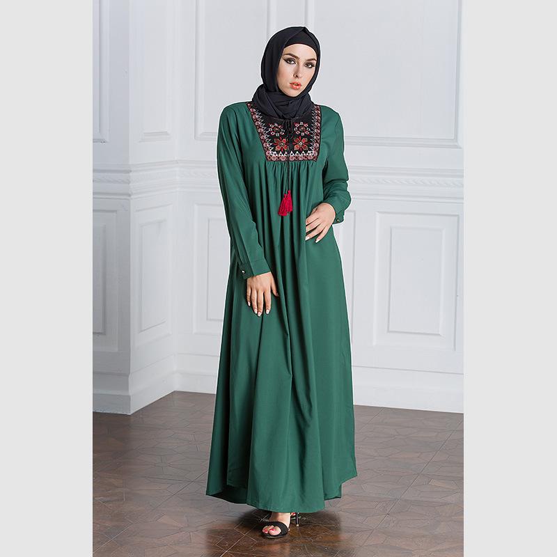 Muslim Dress Women Long Sleeve Embroidery Patchwork Abaya Loose Pakistan Free Plus Size Ethnic Arab Robe Islamic Clothing (8)