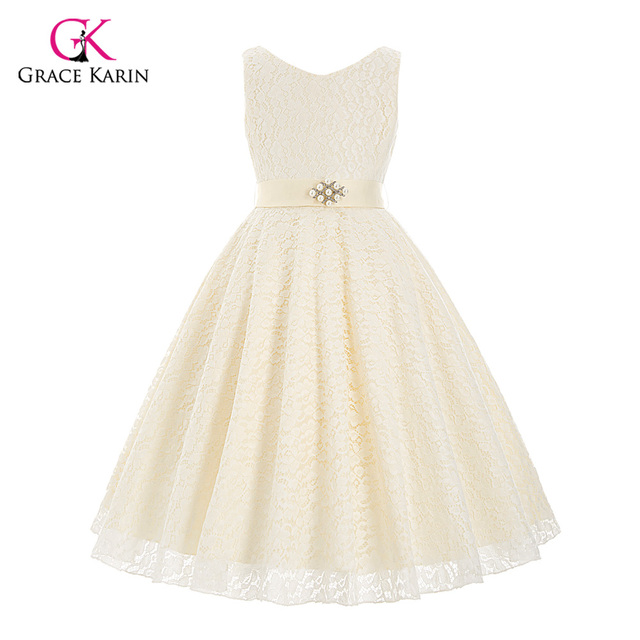d12b805c89b 2018 Girls Pageant Dresses Ball Gown Sleeveless V-Neck Lace Black Ivory  Kids Prom Tutu Flower Girl Dresses For Weddings