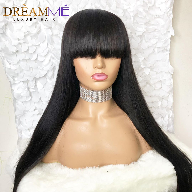 Straight Lace Front Human Hair Wigs With Bangs For Women Glueless Lace Wig Pre Plucked Remy Hair Brazilian 13X6 Lace Front Wig