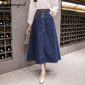 Image 4 - Streamgirl Denim Skirt Women Plus Size Korean Fashion Long Jeans Skirt Button Big Hem Casual High Waist Skirts Long For Women