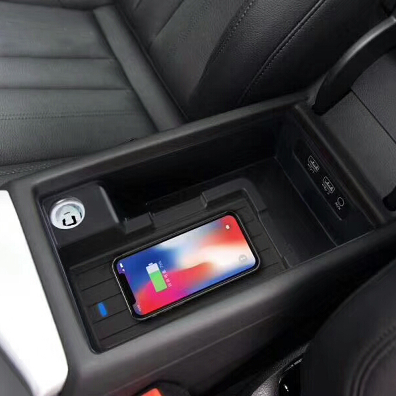 For Audi A4 B9 A5 B9 A6 C7 A7 QI Wireless Charger Charging Case Charging Plate Armrest Box Cover Trim Phone Holder Accessories