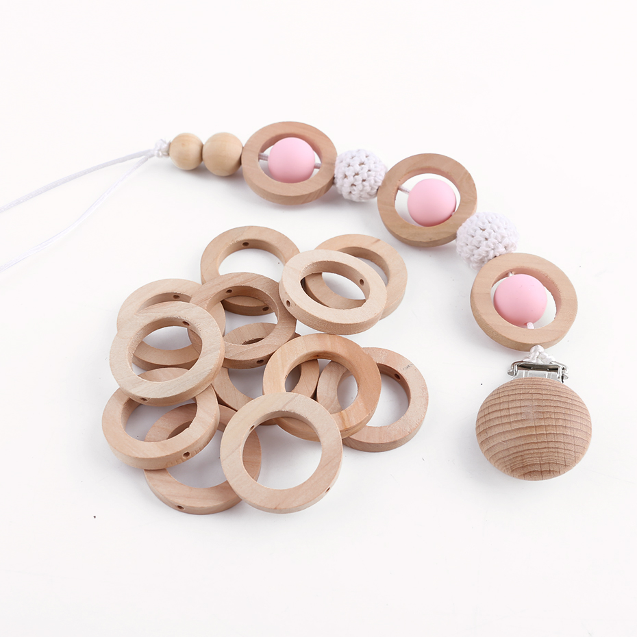 20PC 30mm Maple Wooden Teether Ring Baby Teether Wooden Rings DIY Crafts Accessories Baby Unfinish Wood Chewable Teething Toys