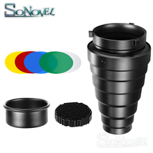 컬러 필터와 godox SN 01 원추형 snoot 스튜디오 플래시 액세서리 bowens 마운트 스튜디오 스트로브 플래시에 대한 벌집 그리드 라이트