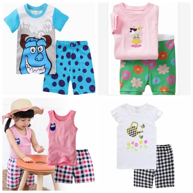 28d81905a842 Retail! shipping Summer Baby Sleepwears Cartoon Suits Boys Pajamas ...