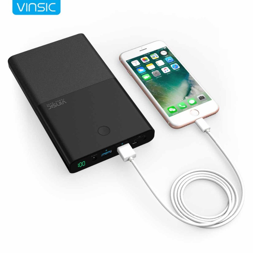 Vinsic 30000 mAh Notebook Energienbank DC 4.5A 19 V Dual USB Externe Ladegerät für Laptop Notebooks Tabletten iPhone X 8 8 Plus