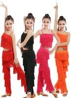 Samba Tassel Latin Dancewear Costumes Girls Salsa Ballroom Fringe Trim Dance Tops Pants Costume Adult Ballroom