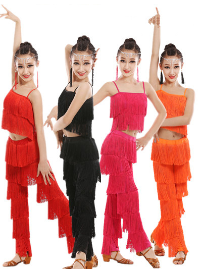 Samba gland Latine vêtements costumes Filles Salsa salle de bal Frange garniture de danse Tops & Pantalons costume Adulte robe De danse de salon