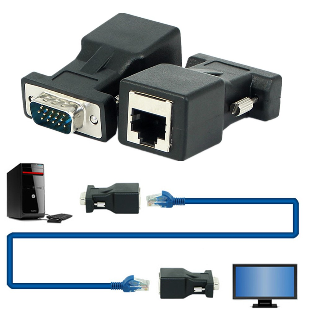 VGA to RJ45 Converter VGA Video Extender 15 Pin Male to RJ45 LAN CAT5 CAT6 Ethernet Network Cable Female Adapter in VGA Cables from Consumer Electronics