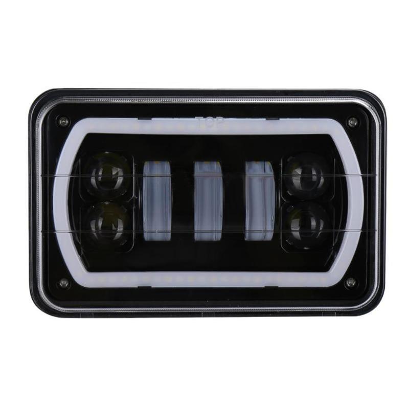 VODOOL 1Pc 6*4 45W LED Projector Headlight DRL Waterproof Work Light Lamp for Jeep Wrangler YJ Cherokee XJ Offroad Truck SUV compatible projector lamp casio yl 35 10294008 xj s31 xj s36